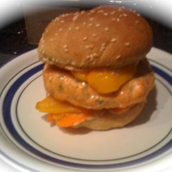 Salmon Burger With Roasted Sweet Peppers and Lemon Aioli Sauce. recipe