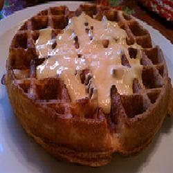 Cornmeal Bacon Waffles with Cheese Sauce recipe