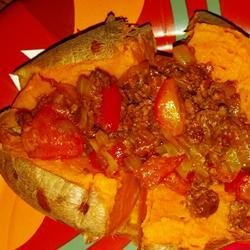 Baked Sweet Potato with Onions and Red Peppers recipe