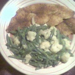 Cajun Sole With Green Beans & Cauliflower recipe