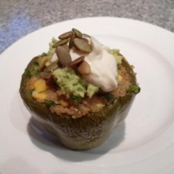 Quinoa and Corn Stuffed Capsicums recipe