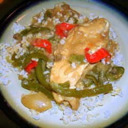 Crock Pot Chicken and Peppers With Gravy over Rice recipe