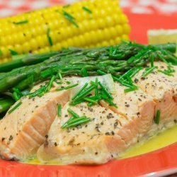 Salmon With Asparagus and Chive Butter Sauce recipe