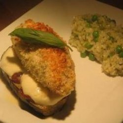 Parmesan Crusted Chicken on Eggplant Sun Dried Tomato and Mozzar recipe