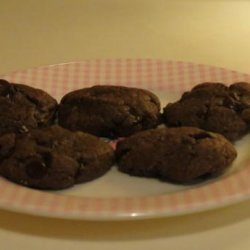 Almost Flourless Chocolate Chocolate Chip Peanut Butter Cookies recipe