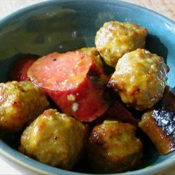 Sweet and Sour Mustard Sausages and Meatballs recipe