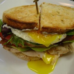 Grilled Chicken Club With Avocado and Fried Egg recipe