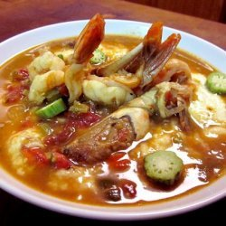 Shrimp and Crab Gumbo over Cheese Grits recipe