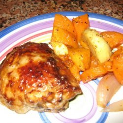 Chicken Thighs With Roasted Sweet Potatoes & Parsnips recipe