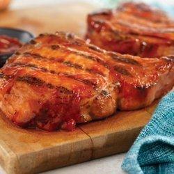 Grilled Ribeye (Rib) Pork Chops With Easy Spicy BBQ Sauce recipe
