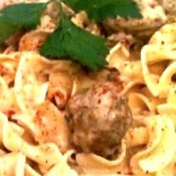 Meatballs in Sour Cream Sauce over Egg Noodles (Made Easy) recipe
