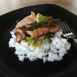 Stir-Fried Beef With Mushrooms and Asparagus recipe