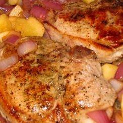 Pork Chops With Apples, Onions and Cheesy Baked Potatoes recipe