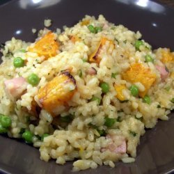 Ham, Pumpkin and Pea Risotto recipe