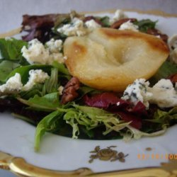 Roasted Pear-Honey Salad With Baby Greens recipe