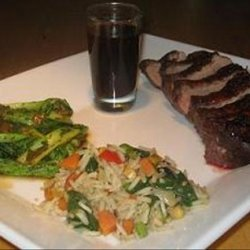 Duck Magret With Bok Choy and Vegetable Fried Rice recipe