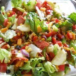Delicious Garden Entree Salad With Pepperoni, Cheese, Pineapple recipe