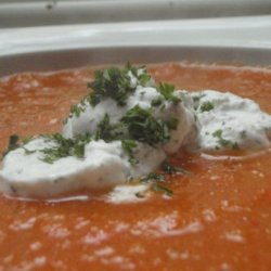 Roasted Red Pepper and Tomato Soup With Dill Creme Fraiche recipe