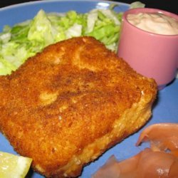 Fried Salmon With Scallion Mayonnaise and Lettuce recipe