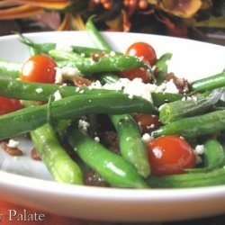 Pancetta Sauteed Haricot Vert With Cherry Tomatoes and Feta recipe