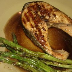Grilled Salmon and Asparagus With Balsamic Butter recipe