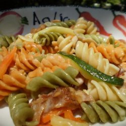 Rotini Pasta With Smoked Ham, Vegetables and 3 Cheeses recipe