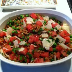 Summer Pea, Watermelon and Farro Salad recipe