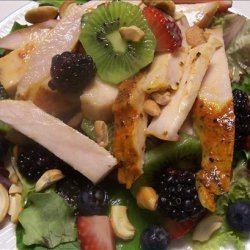 Turkey Salad over Mixed Greens With Fruit recipe