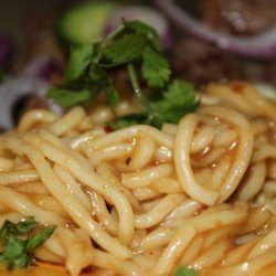 Sweet Red Chili Noodles With Sesame Seeds recipe