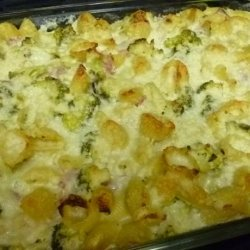 Baked Shells and Broccoli With Ham and Cheesy-Creamy Cauliflower recipe