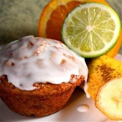 Banana Mango Muffins with Lime Glaze recipe