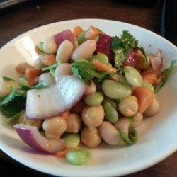 Three Bean Salad With Fresh Cilantro and Walla Walla Onion recipe