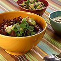 Beef and Black Bean Chili with Toasted Cumin Crema and Avocado Relish (Bobby Flay) recipe