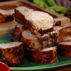 Grilled Rack of Pork with Sherry Vinegar BBQ Sauce (Bobby Flay) recipe