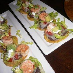 Shrimp Tostadas On Homemade Corn Tortillas With Fr... recipe