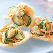 Cucumber And Carrot Slaw On Shrimp Chips recipe