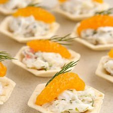 Crab Dill With Mandarin Shortcrust Cups recipe