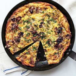 Mushroom, Leek, and Fontina Frittata recipe