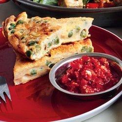 Curried Pea Frittata with Fresh Tomato Chutney recipe