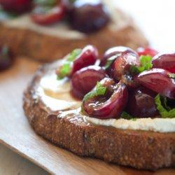 Goat Cheese Bruschetta With Cherries And Mint recipe