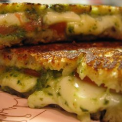 Grilled Mozarella Tomato Sandwich With Pesto recipe