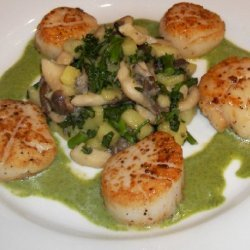 Seared Sea Scallops With A Watercress Truffle Coul... recipe