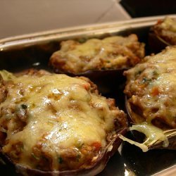 Eggplant Stuffed With Beef And Herbed Chevre Chees... recipe