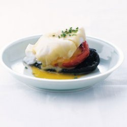 Poached Eggs with Roasted Tomatoes and Portabellas recipe