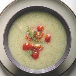 Fennel and Zucchini Soup with Warm Tomato Relish recipe