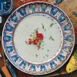 Cold Cucumber and Cubanelle Soup with Cashews and Chives recipe