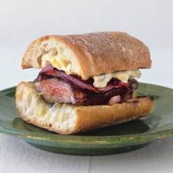 Grilled Skirt Steak and Pepper Sandwiches with Corn Mayonnaise recipe