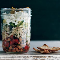 Greek Salad with Orzo and Black-Eyed Peas recipe