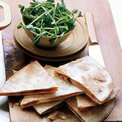 Bbq Onion and Smoked Gouda Quesadillas with Pea Shoot Mini Salad recipe