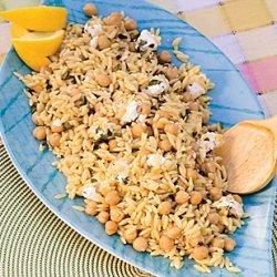 Orzo with Garbanzo Beans, Goat Cheese, and Oregano recipe